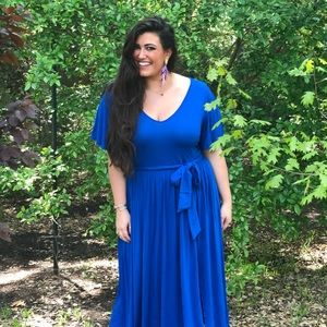 Eloquii Blue Maxi Dress with Ruffle Sleeve